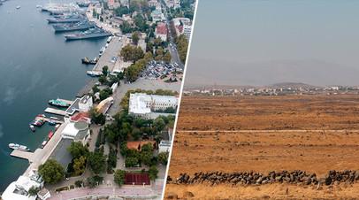 Вид на Севастополь / Вид на город в сирийской провинции Эль-Кунейтра на границе с Голанскими высотами