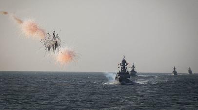 Учения корабельных группировок Каспийской флотилии