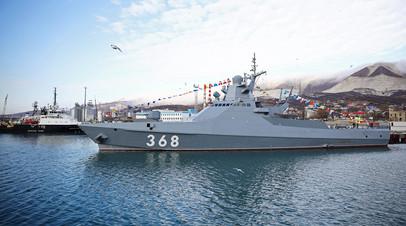 Головной патрульный корабль проекта 22160 «Василий Быков» на Новороссийской военно-морской базе