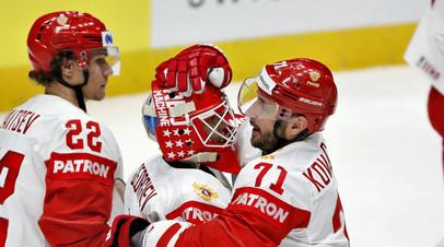 Хоккеисты сборной России Илья Ковальчук, Александр Георгиев и Никита Зайцев