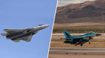 Слева — Су-57, справа — F-16, перекрашенный под Су-57