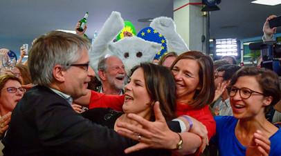 Лидеры зелёных празднуют успех на выборах в Европарламент