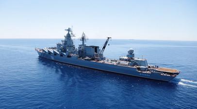 Флагман ЧФ «Москва» вышел на ходовые испытания в море