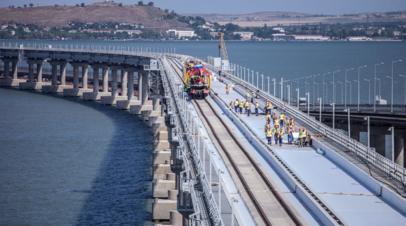 В Крыму прокомментировали завершение строительства первого железнодорожного пути на Крымском мосту