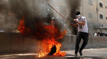 На акции протеста палестинцев против переноса посольства США в Иерусалим, май 2018-го