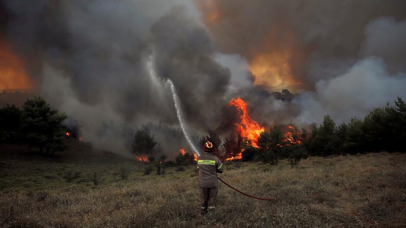 В Греции на острове Эвбея из-за пожара эвакуировали четыре посёлка