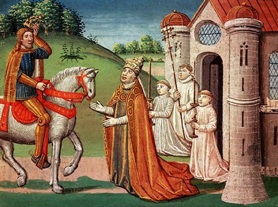 Папа Римский просит помощи у Карла Великого на встрече под Римом