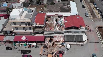 В Греции беспилотник снял последствия шторма, унёсшего жизни семерых человек