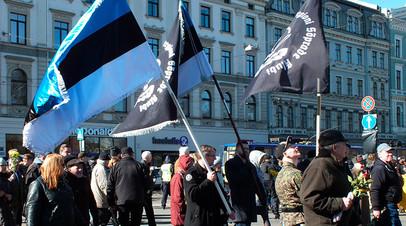 Представители Эстонии на марше ветеранов ваффен-СС в Риге