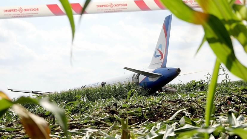 Опубликовано видео из салона севшего в кукурузном поле A321