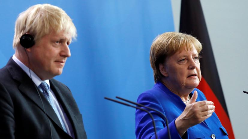 Меркель назвала темы переговоров с Джонсоном
