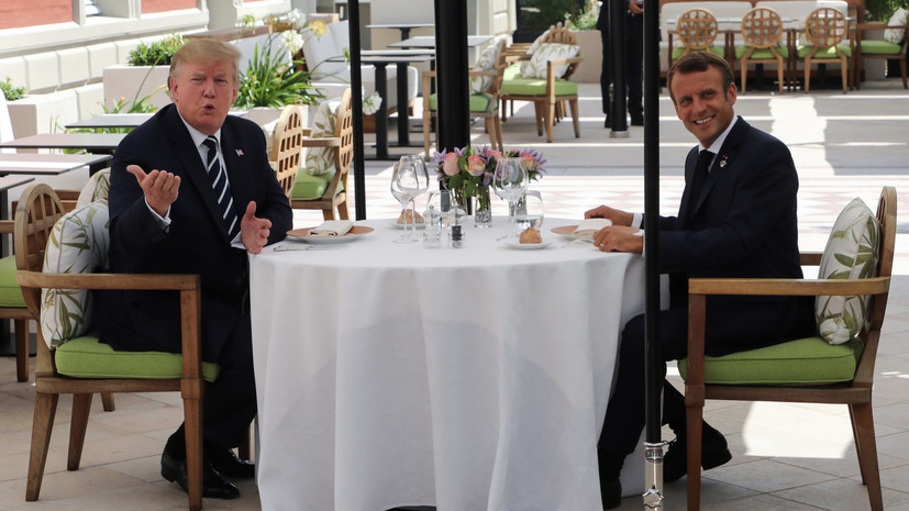 Image result for macron and trump breakfast