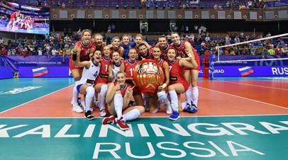 Волейболистки женской сборной России во время матча с национальной командой Южной Кореи