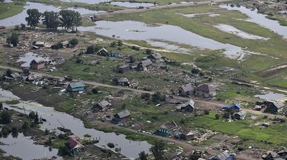 Вид на район подтопления в Тулуне