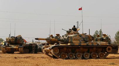 Турецкие танки близ границы с Сирией