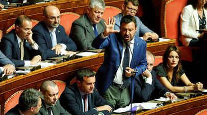 Выступление Маттео Сальвини в сенате Италии