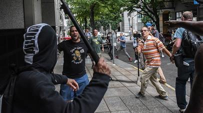 Стычка ультраправых активистов и антифашистов в Портленде 17 августа 2019 года
