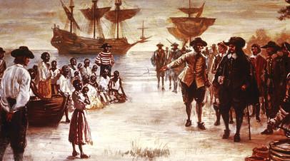 Прибытие в Джеймстаун, Вирджиния, английского корабля с группой африканских рабов для продажи, 1619 год