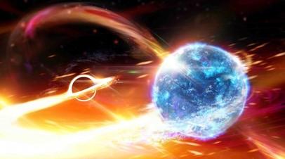Поглощение нейтронной звезды черной дырой в представлении художника