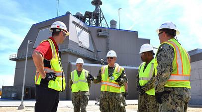 Представители ВМС США на строящейся системе Aegis Ashore в Польше