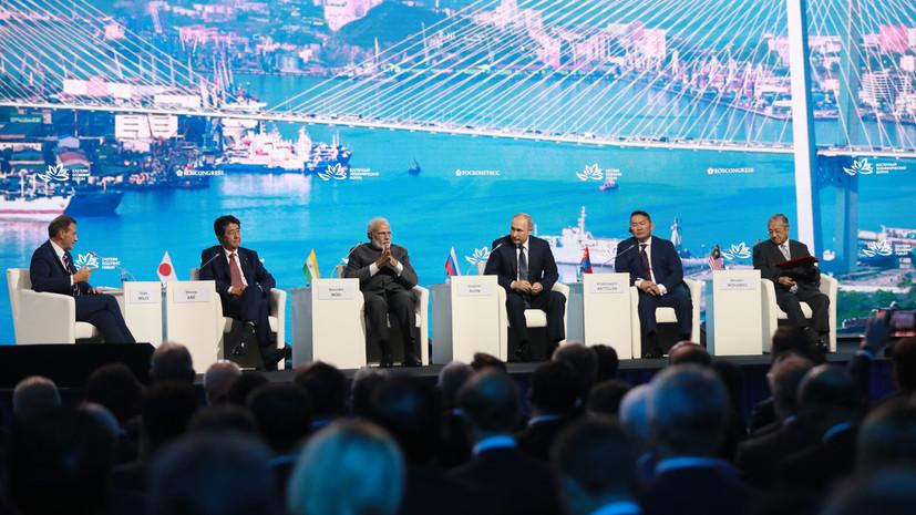Обмен заключёнными, договор с Токио и ракеты США: о чём Путин и другие лидеры говорили на пленарном заседании ВЭФ