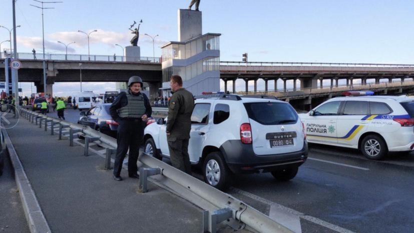 Опубликовано видео с задержанием угрожавшего взорвать мост в Киеве