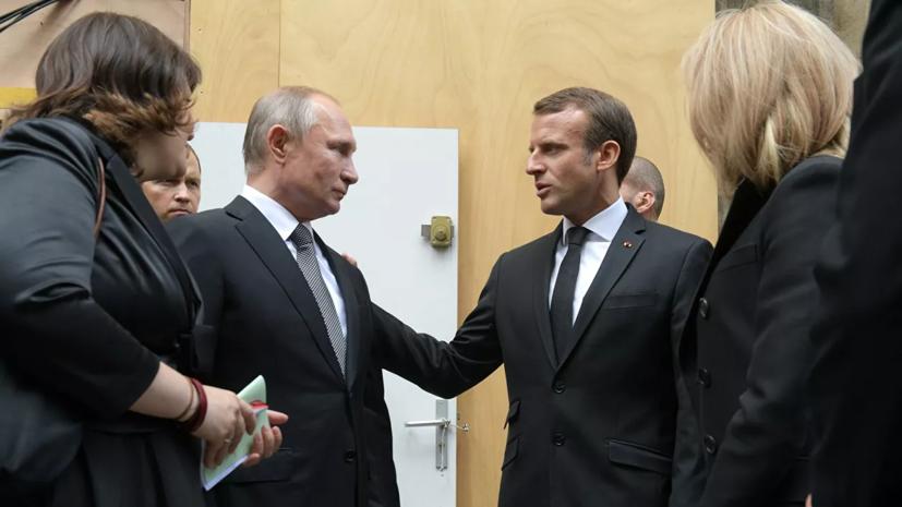 Песков сообщил о краткой беседе Путина и Макрона