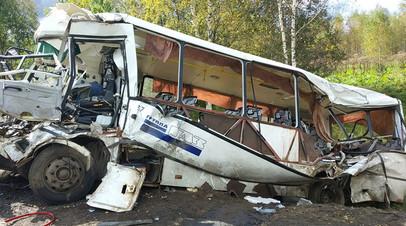 На месте ДТП в Ярославской области, где пассажирский автобус столкнулся лоб в лоб с фурой