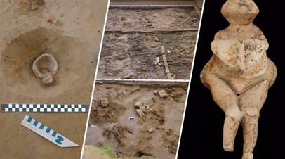 Расчищенная раковина моллюска, раскоп в Хотылёво-2 и палеолитическая Венера