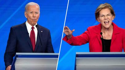 Кандидаты в президенты США Джо Байден и Элизабет Уоррен