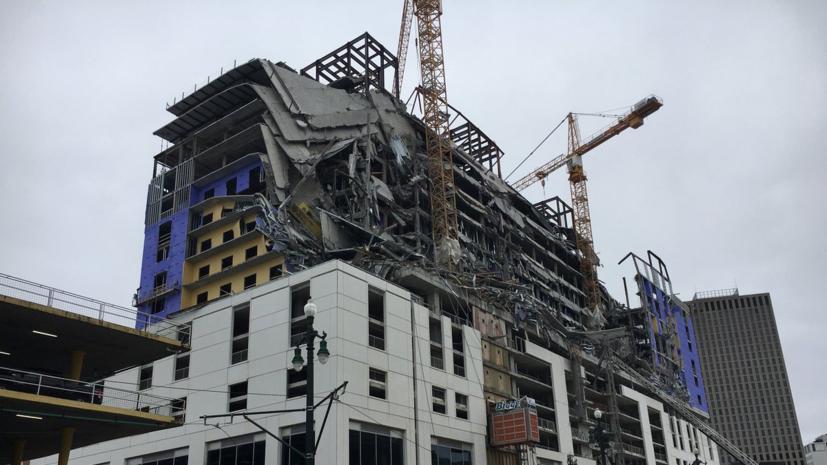 Один человек погиб в результате обрушения части здания отеля в США