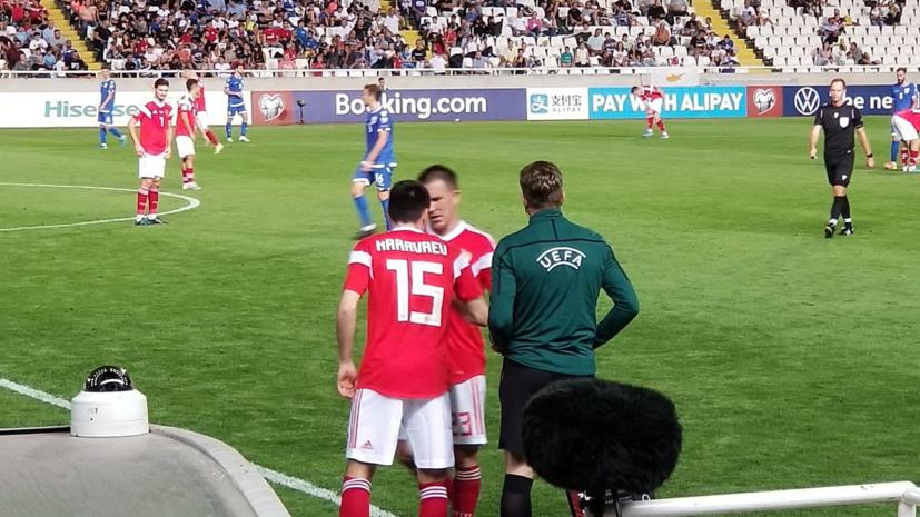Россия обыгрывает Кипр после первого тайма матча отбора на Евро-2020
