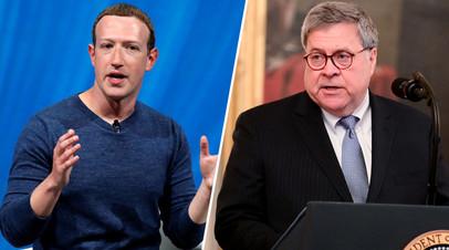 Глава Facebook Марк Цукерберг, генеральный прокурор США Уильям Барр