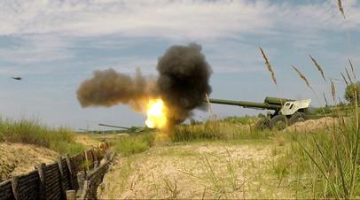 Стрельба из буксируемой пушки «Гиацинт» ВСУ