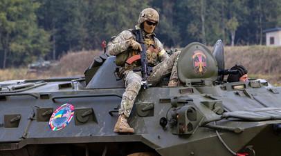 Украинский военнослужащий на учениях НАТО Rapid Trident — 2019
