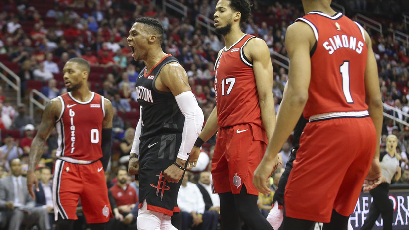 Трипл-дабл Уэстбрука помог «Хьюстону» обыграть «Портленд» и продлить серию побед в НБА