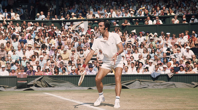 July 1973: Soviet tennis star Alex Metreveli in action at the Wimbledon Tennis Championships.