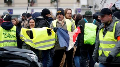 Число задержанных на протестах «жёлтых жилетов» в Париже превысило 100