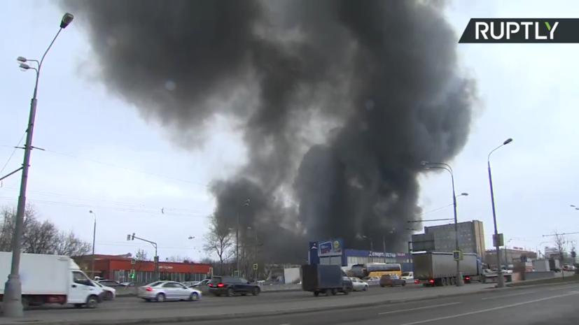 Площадь пожара на юге Москвы достигла семи тысяч квадратных метров