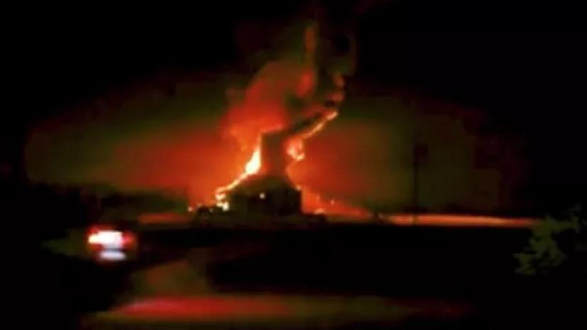 Под Новосибирском загорелся склад с пухом