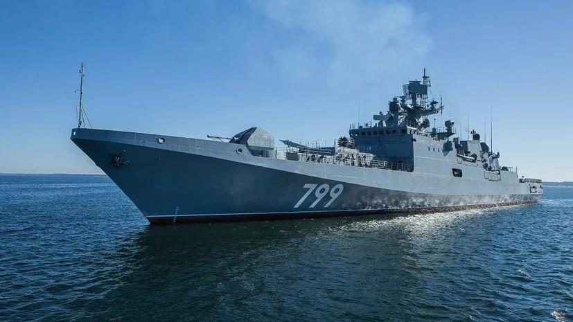 Фрегат ЧФ «Адмирал Макаров» возвращается в Севастополь после учений