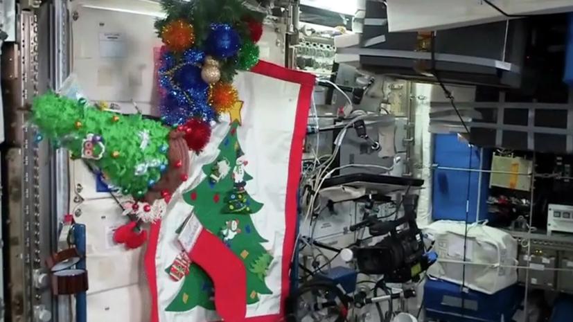 Экипаж МКС нарядил новогоднюю ёлку