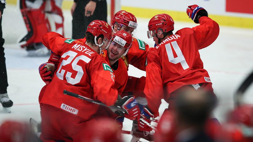 Сборная России по хоккею забросила шестую шайбу в ворота Германии в матче МЧМ