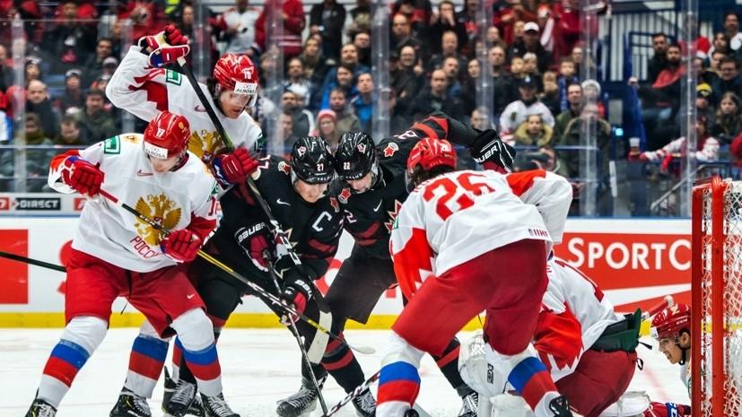Российский хоккеист Замула ударил по лицу канадца Хэйтона в финале МЧМ по хоккею