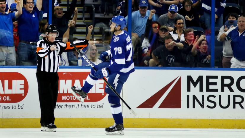 Российский хоккеист «Тампы» Волков набрал первое очко в НХЛ
