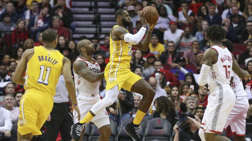 «Лейкерс» нанёс «Хьюстону» третье поражение подряд в НБА, Джеймс набрал 31 очко