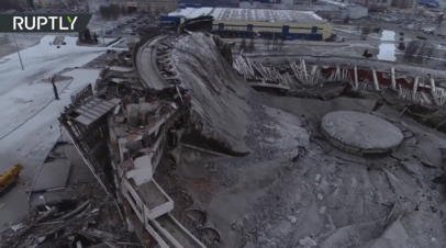 В Петербурге обрушилась крыша спортивно-концертного комплекса — видео с беспилотника