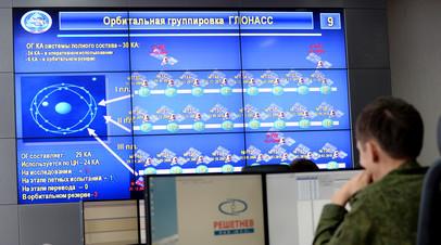 Монитор, демонстрирующий работу ГЛОНАСС для нужд российской армии