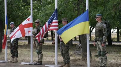 Военнослужащие Грузии, США и Украины на построении на учениях Sea Breeze