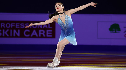 Rika Kihira of Japan performs in the Gala Exhibition during the ISU Four Continents Figure Skating Championships at Mokdong Ice Rink on February 09, 2020 in Seoul, South Korea.